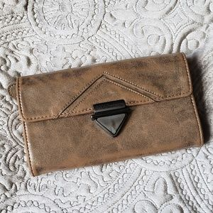 BCBGeneration Tan and Silver Clutch Bag